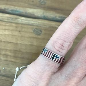 Sterling Silver Vintage USA Flag Enamel Ring Stack